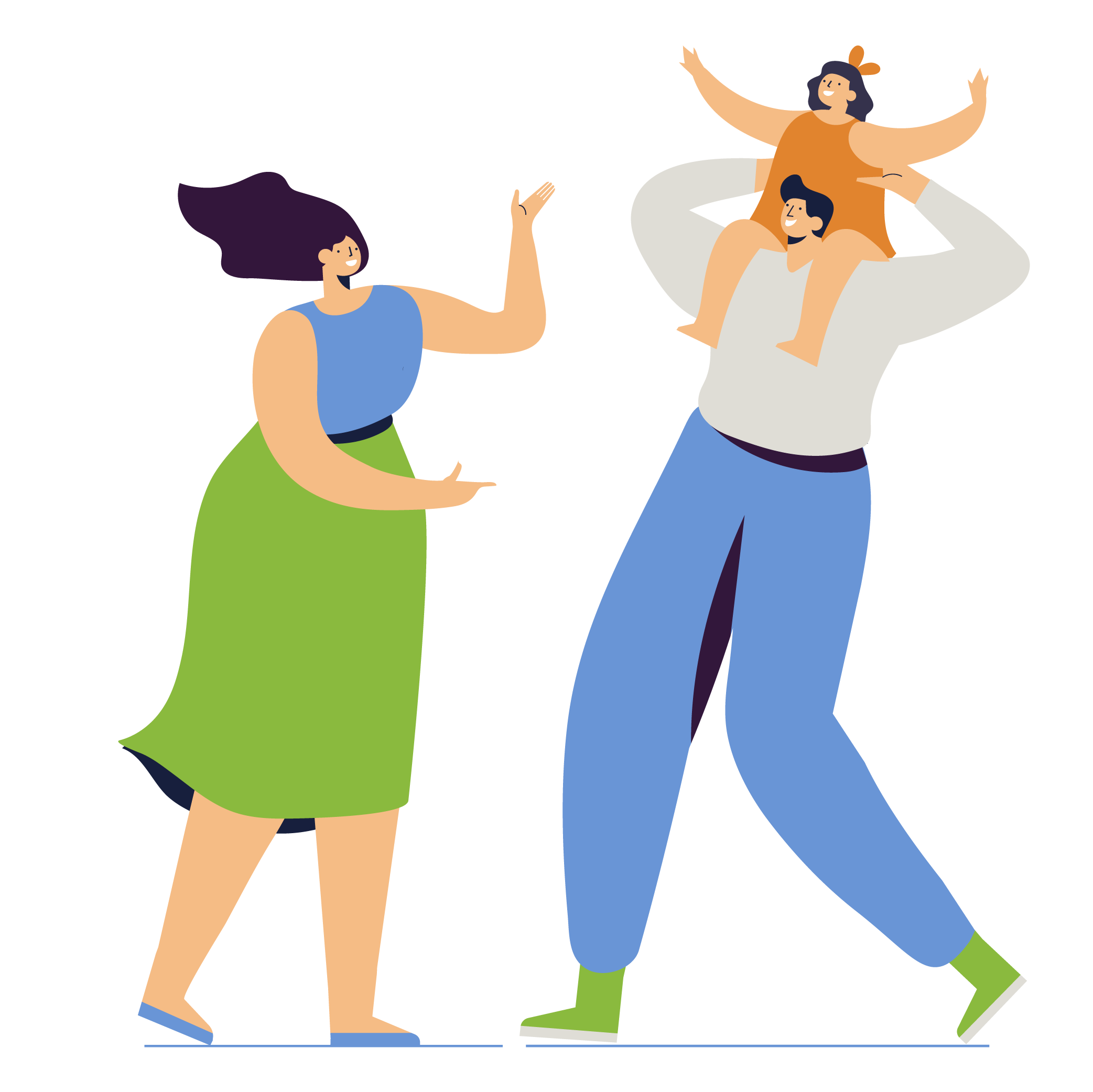 Illustration woman with hands gesturing, man with girl on shoulders
