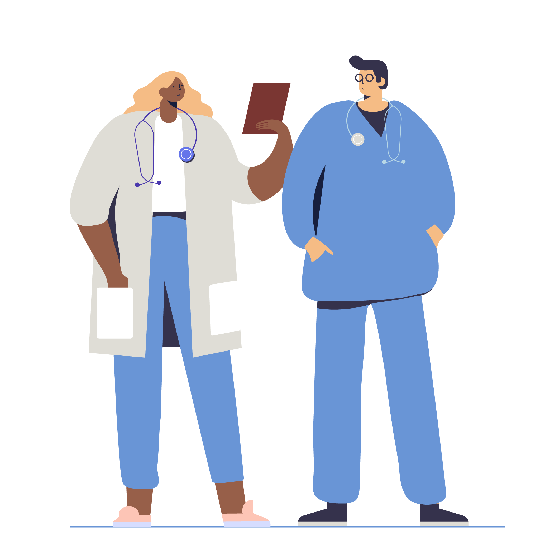 Man and Woman of different races wearing blue medical scrubs and holding clipboard