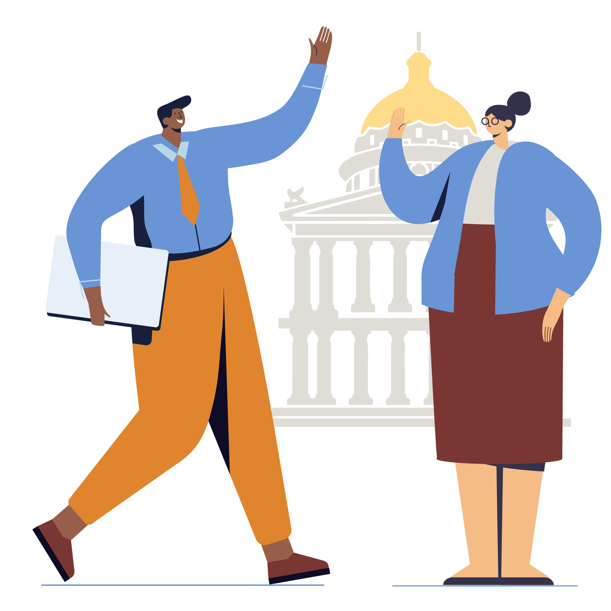 Illustration man wearing tie holding documents and woman wearing glasses standing in front of capital building