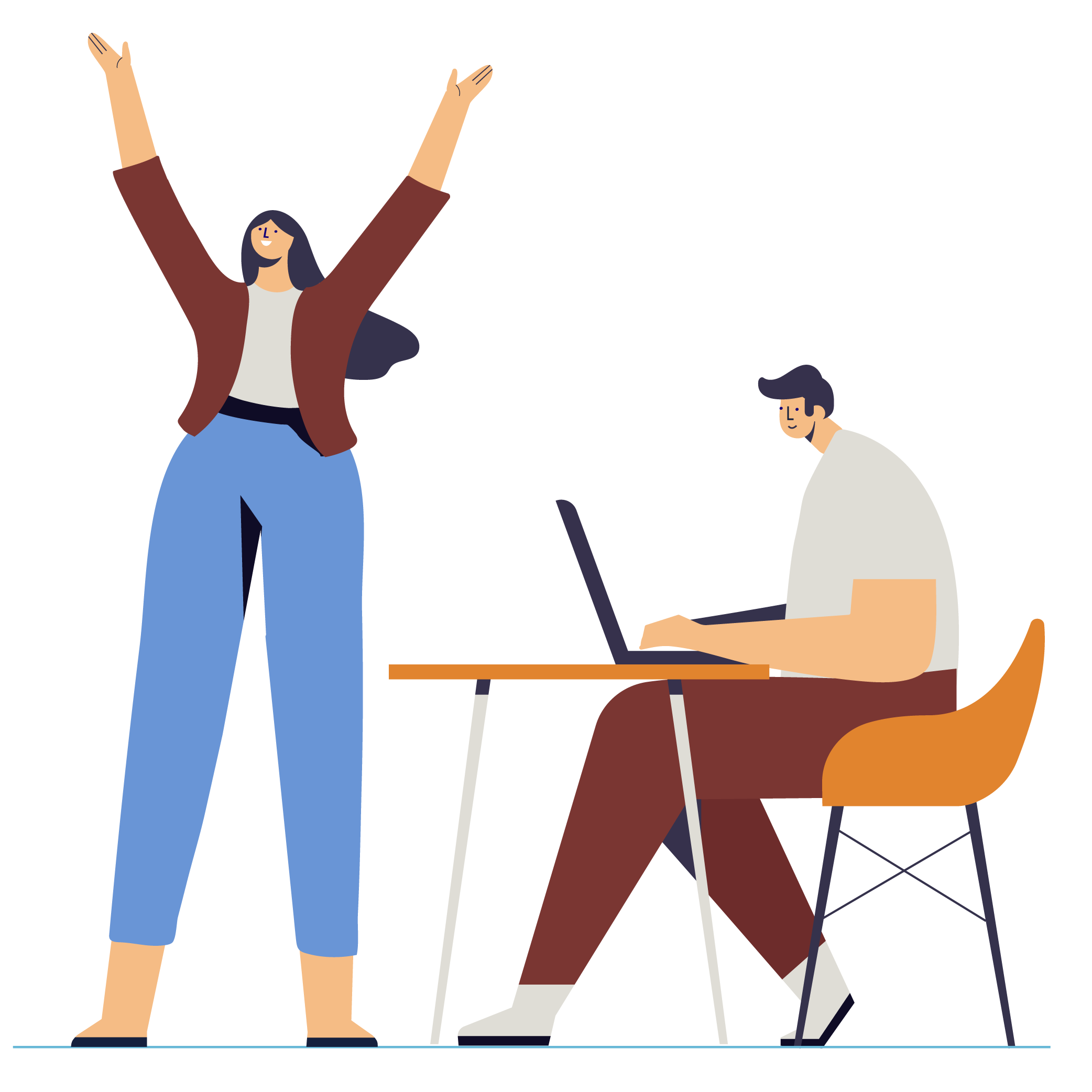 Illustration of woman standing arms up and man sitting with laptop
